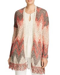 Lucky Brand Plus Chevron Fringed Cardigan Red Multi