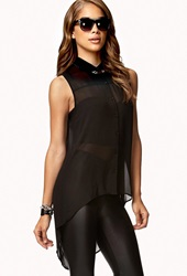 Forever 21 Cutout Back High Low Shirt Black