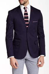 Paisley And Gray Navy Slim Fit 2 Button Notch Lapel Blazer Blue
