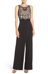 Adrianna Papell Women's Embellished Mesh And Jersey Jumpsuit