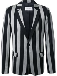 Strateas Carlucci Striped Tailored Blazer Black