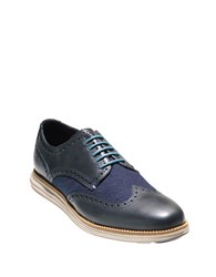 Cole Haan Wingtip Leather And Wool Oxfords Blue