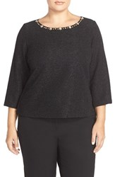 Plus Size Women's Eliza J Embellished Boatneck Shimmer Texture Top