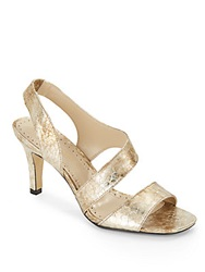 Adrienne Vittadini Giprisity Textured Metallic Leather Sandals Gold