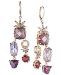 Anne Klein Gold Tone Multi Stone And Pave Chandelier Earrings