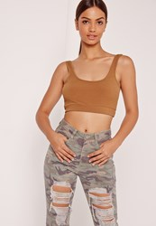 Missguided Ribbed Band Crop Top Nude Beige