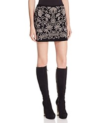 Alice Olivia Elana Metallic Embroidered Mini Skirt Black Silver