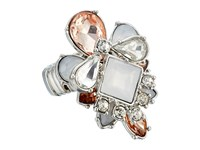 Guess Stone Cluster Stretch Ring Silver Crystal Peach Ring
