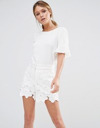 Oasis Frill Sleeve Tee Ivory White