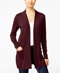 Jm Collection Petite Open Front Cardigan Only At Macy's Jmc Merlot