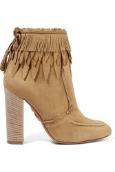 Aquazzura Tiger Lily Leather Trimmed Fringed Suede Ankle Boots Beige