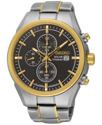 Seiko Men's Solar Chronograph Two Tone Titanium Bracelet Watch 43Mm Ssc392 No Color