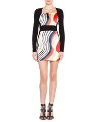 Emilio Pucci Long Sleeve Fitted Colorblock Dress