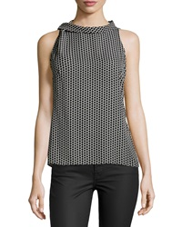 Laundry By Shelli Segal Dot Print Sleeveless Blouse Black Multi