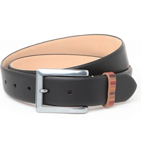 Paul Smith Vintage Multi Striped Keeper Belt Black