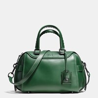 Coach Ace Satchel In Glovetanned Leather Black Copper Racing Green