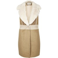 River Island Womens Brown Faux Suede Shearling Gilet