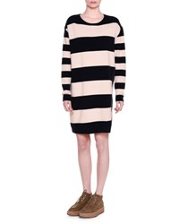 Stella Mccartney Long Sleeve Wide Striped Combo Shift Dress Ink Powder Blue Pink