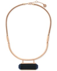 Vince Camuto Rose Gold Tone Jet Stone Statement Necklace