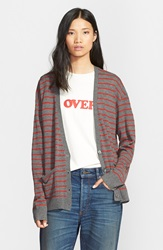 6397 Stripe Wool And Cashmere Oversize Cardigan Charcoal Burnt Red