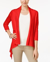 Cable And Gauge Open Front Cardigan True Red