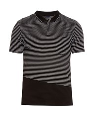 Lanvin Striped Cotton Pique Polo Shirt Black Multi