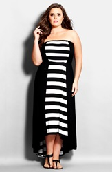 City Chic 'Amalfi' Strapless High Low Maxi Dress Plus Size Black