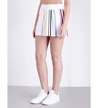 Monreal London Pleated Striped Stretch Jersey Tennis Skirt White