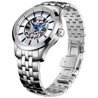 Rotary Men's Mecanique Skeleton Bracelet Strap Watch Silver