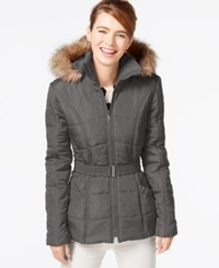 Rampage Faux Fur Trim Belted Puffer Coat Charcoal