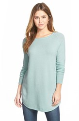 Petite Women's Halogen Shirttail Wool And Cashmere Boatneck Tunic Blue Raindrop