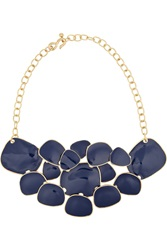 Kenneth Jay Lane Gold Plated Enamel Necklace Blue