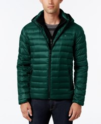 Calvin Klein Men's Packable Hooded Puffer Coat Grey Teal Metallic