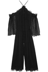 Zimmermann Lace Trimmed Swiss Dot Silk Georgette Jumpsuit Black