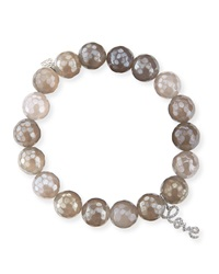Sydney Evan 10Mm Faceted Gray Chalcedony Bead Bracelet With 14K Gold Love Charm Pearl Gray
