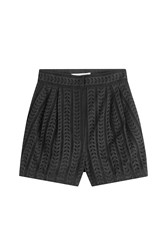 Philosophy Di Lorenzo Serafini High Waisted Cotton Eyelet Shorts Black