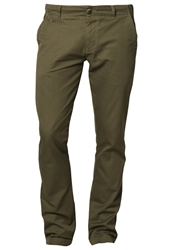 Knowledge Cotton Apparel Twisted Twill Chinos Khaki Oliv