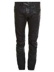 Balmain Biker Skinny Fit Coated Jeans Black