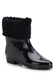 Melissa Knit Cuff Ankle Boots Black