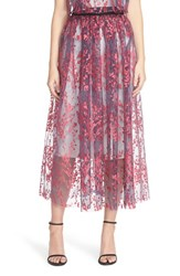 Women's Sachin And Babi Noir 'Celosia' Embroidered Organza Midi Skirt