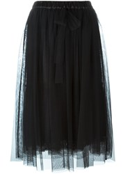 Twin Set Tulle Midi Skirt Black