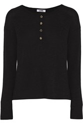 Lna Henley Honeycomb Knit Top Black