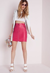 Missguided Zip Front Faux Leather Mini Skirt Pink Pink
