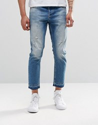 Asos Slim Cropped Jeans With Abrasions In Mid Blue Mid Blue