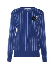 Christopher Kane Sequin Embellished Striped Sweater Blue White