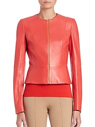 Michael Kors Plonge Fitted Leather Jacket Persimmon
