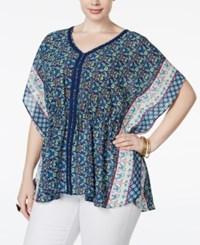 American Rag Plus Size Printed Poncho Top Only At Macy's Blue Print