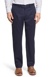Men's John W. Nordstrom Non Iron Smartcare Flat Front Stretch Cotton Pants Navy Night