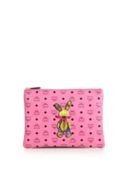Mcm Rabbit Small Coated Canvas Zip Pouch