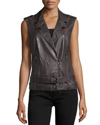 Haute Hippie Double Belted Leather Moto Vest Graphite Grey